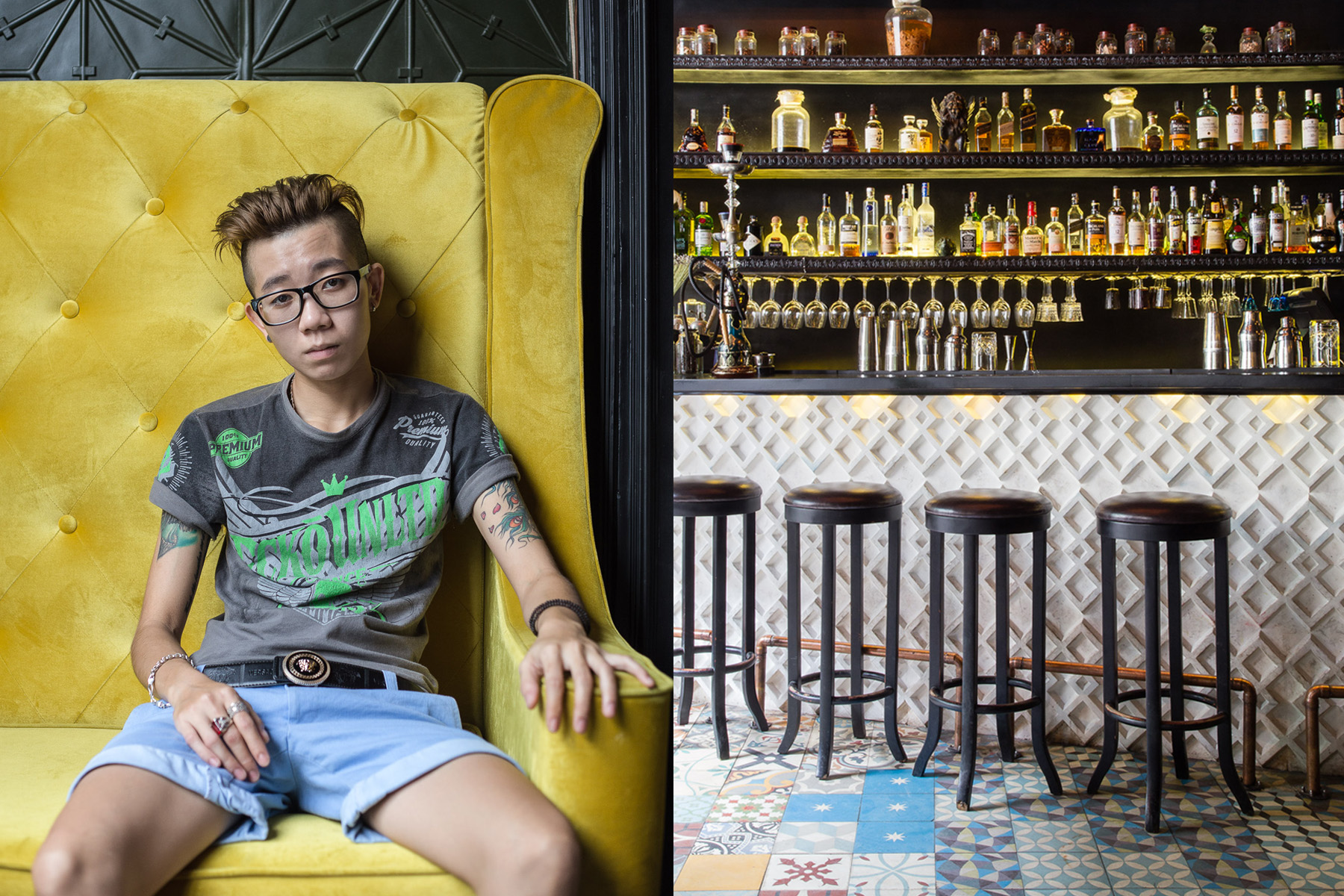 A patron enjoying the speak-easy-themed environs of Snuffbox, a sophisticated nightclub in 14 Ton That Dam Street, District 1, Ho Chi Minh City, Vietnam.