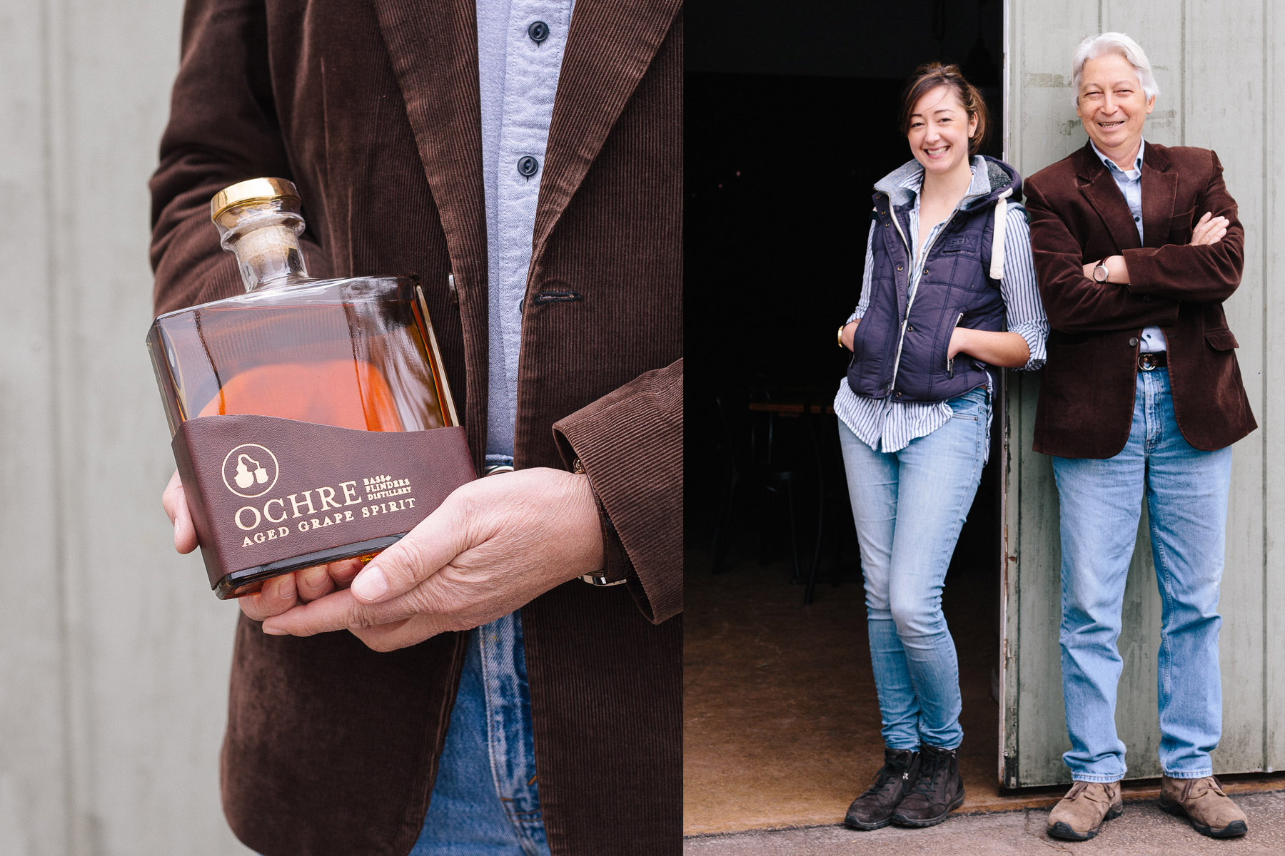 The Peninsula is thriving with unique and boutique local producers. Pictured here are father/daughter owners of Bass & Flinders Distillery, Wayne and Holly Klintworth, with their award-winning, double-distilled and aged brandy.
