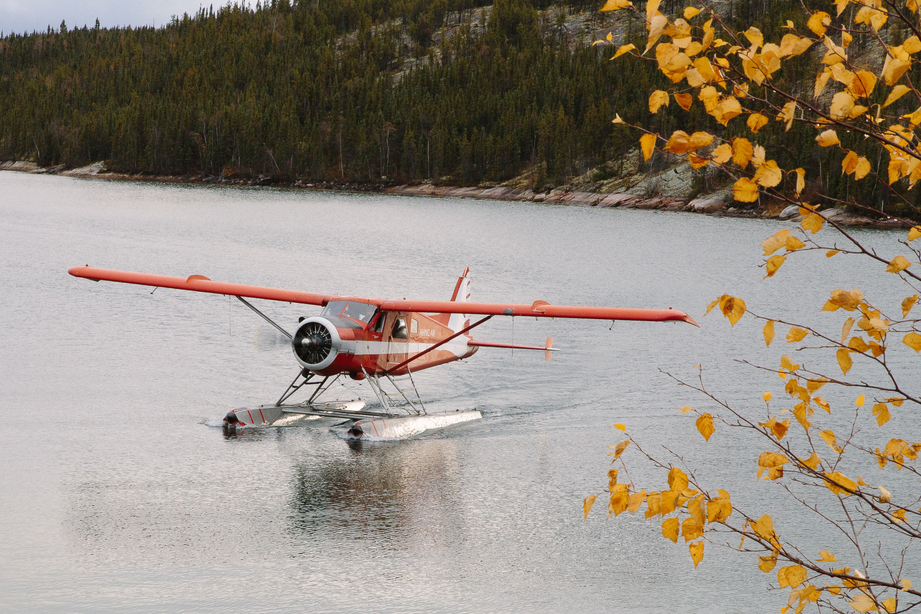Touchdown. Access to this remote fishing lodge is by seaplane only. Pictured is a 1957 DeHavilland Beaver, run out of Yellowknife by AHMIC Air.