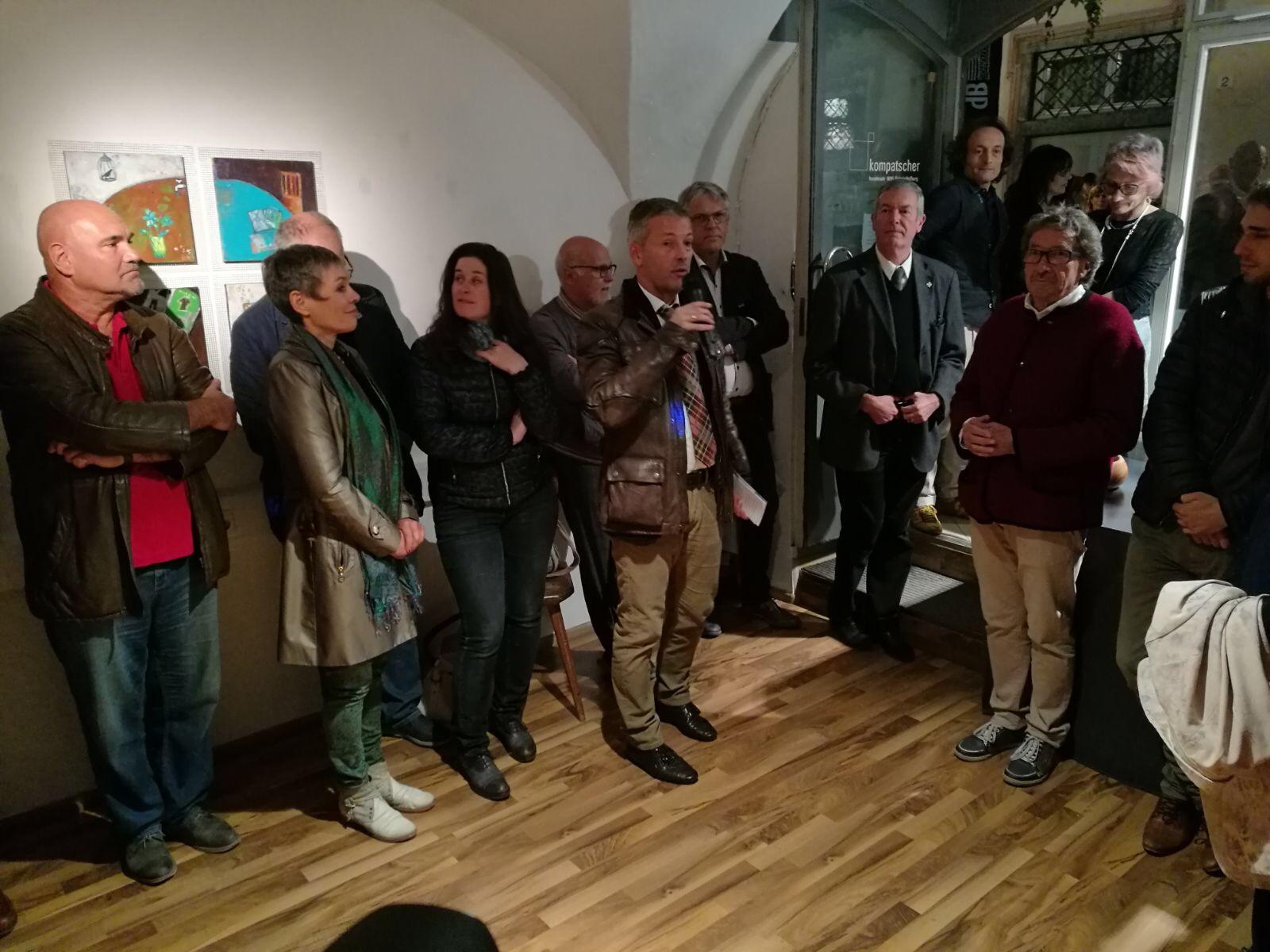 Don Paolo Renner, Bürgermeister Peter Brunner, Willy Vontavon, Claudio Olivotto, Karolina Gacke