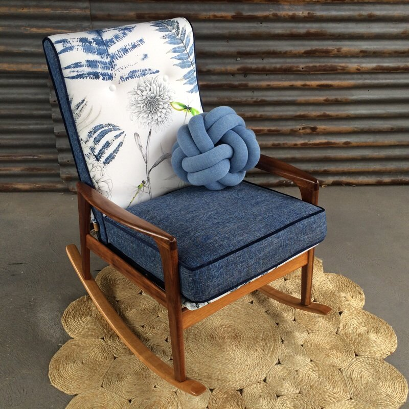 'Feliece Fler' is a gorgeous rocking chair featuring   Acanthus Indigo   from the SS17 Majolica Collection from Designers Guild.