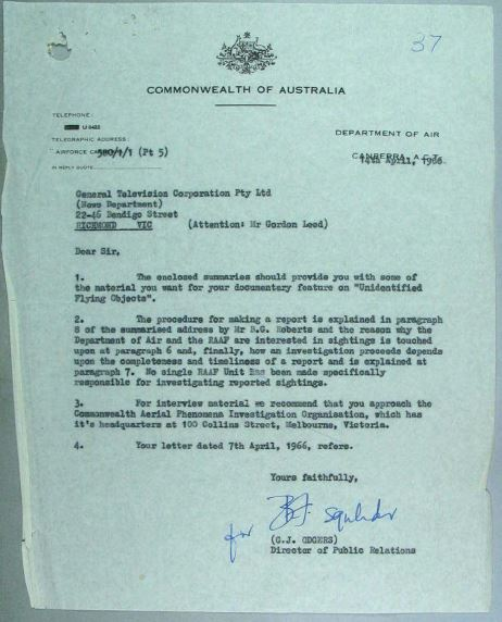 Copy of Reply from Department of Air – National Archives Australia (NAA)