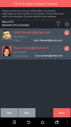 Fill in empty contact names   In this step empty contact names will be filled in by other fields such as email, organization, last, middle or first names. This eliminates missing entries.
