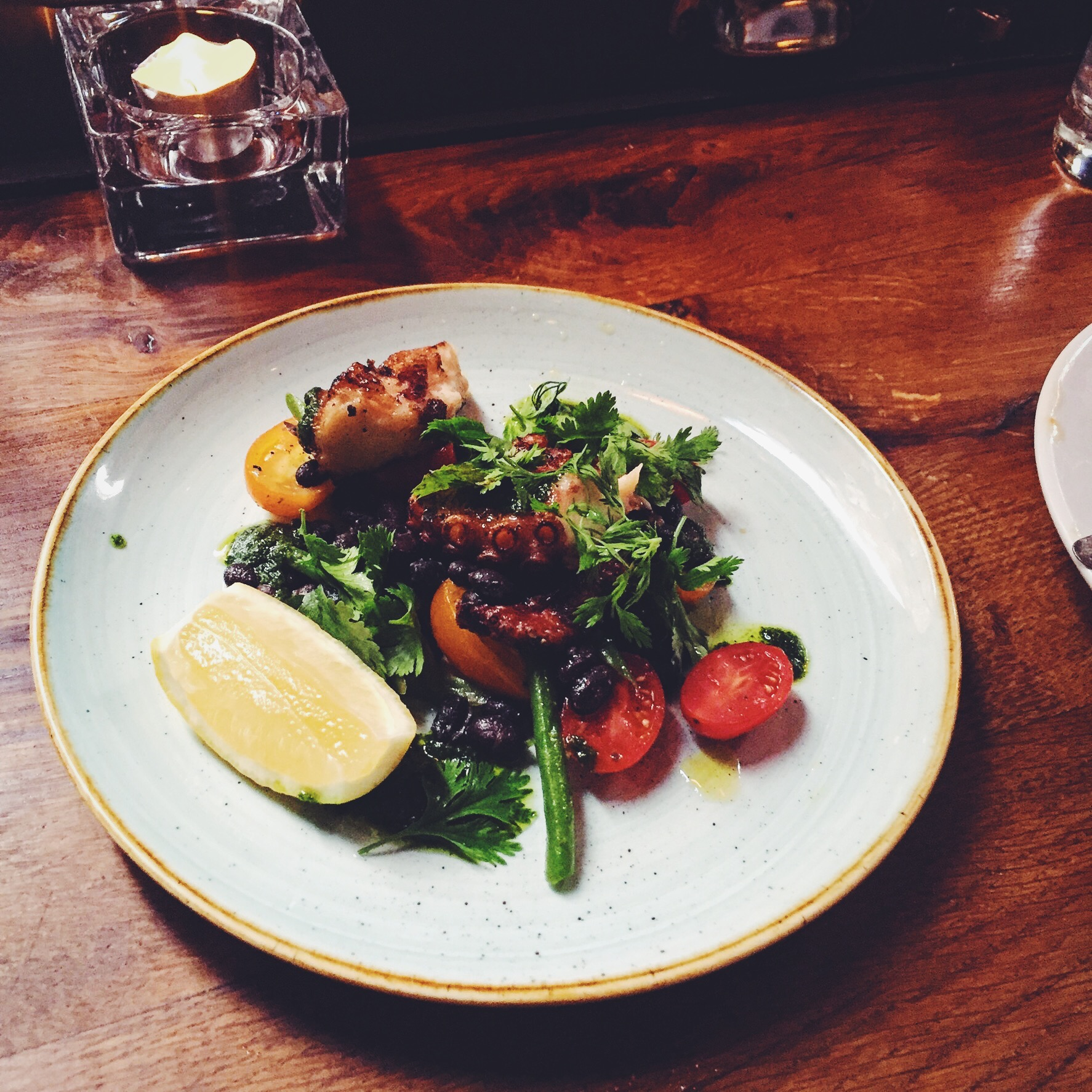 Chargrilled Octopus with Frigol Negro and tomato & green bean salad (£8.50)