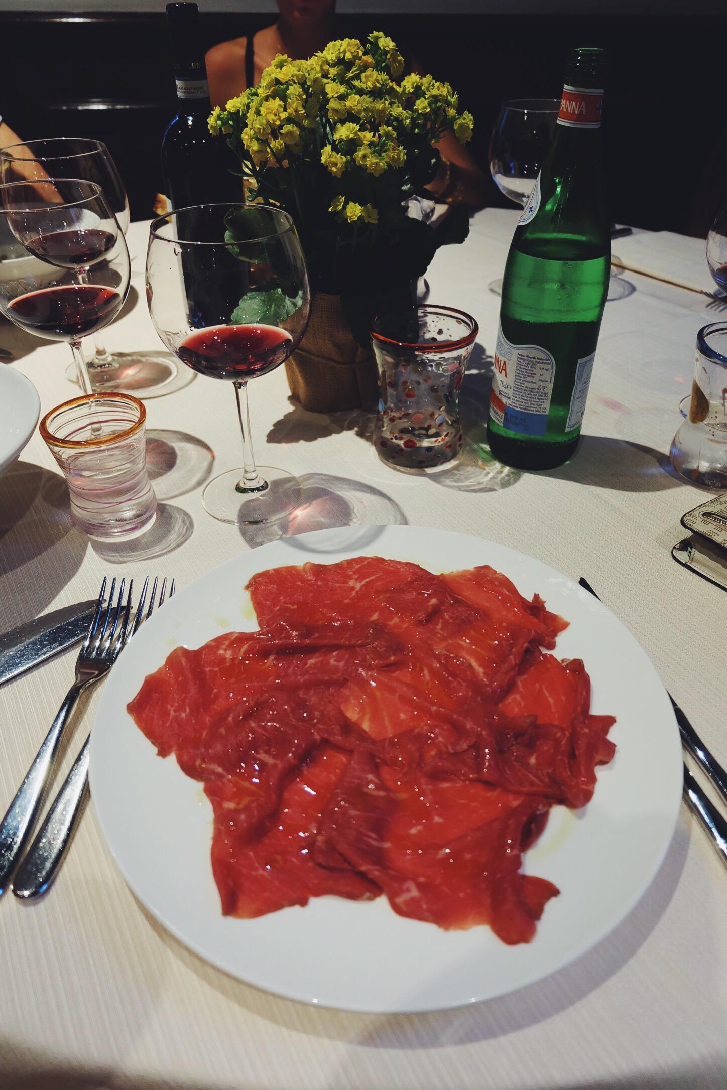 Incredible beef carpaccio at Rovello 18