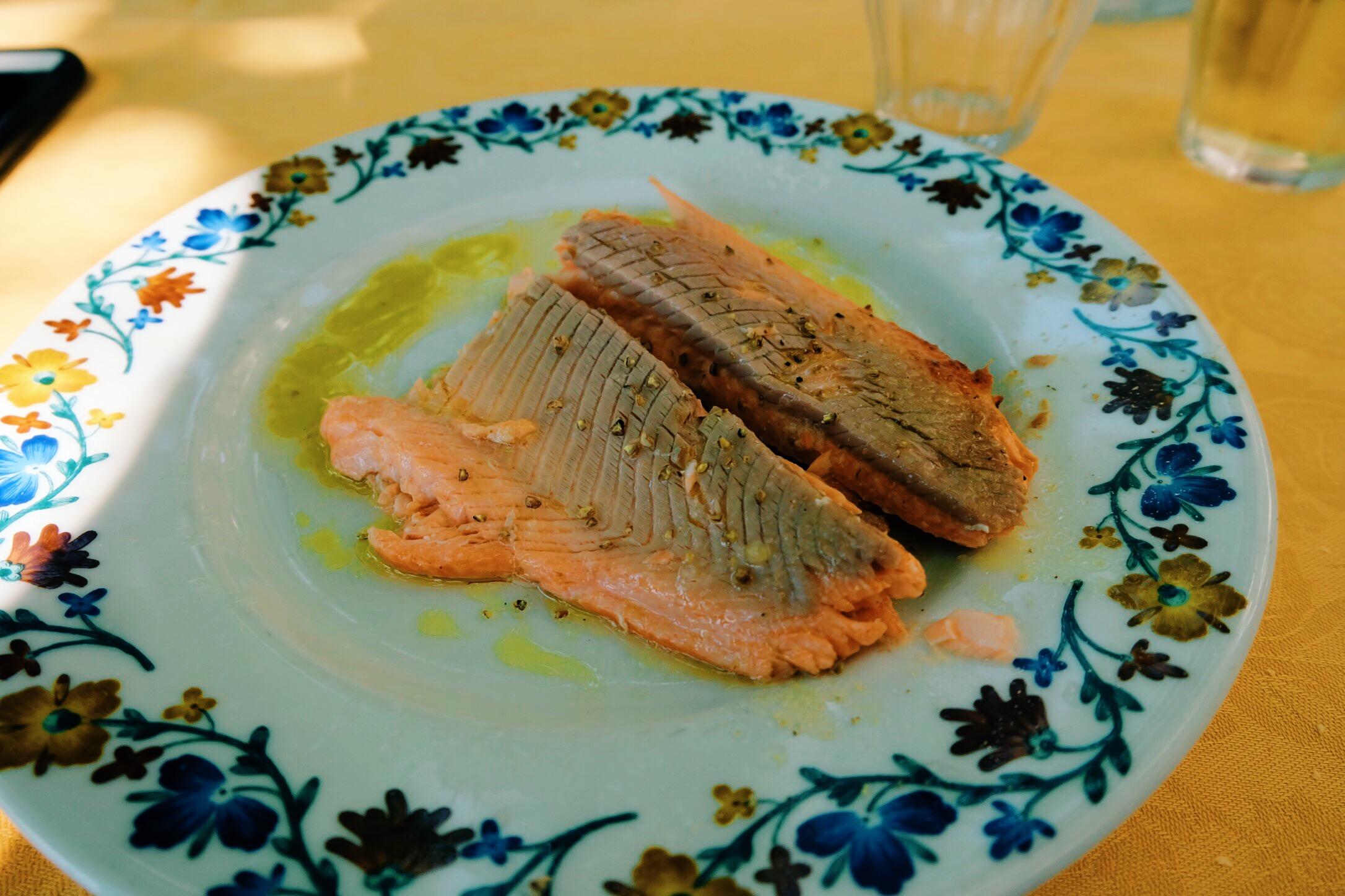 Freshly grilled salmon at Locanda Dell'Isola Comanica       restaurant