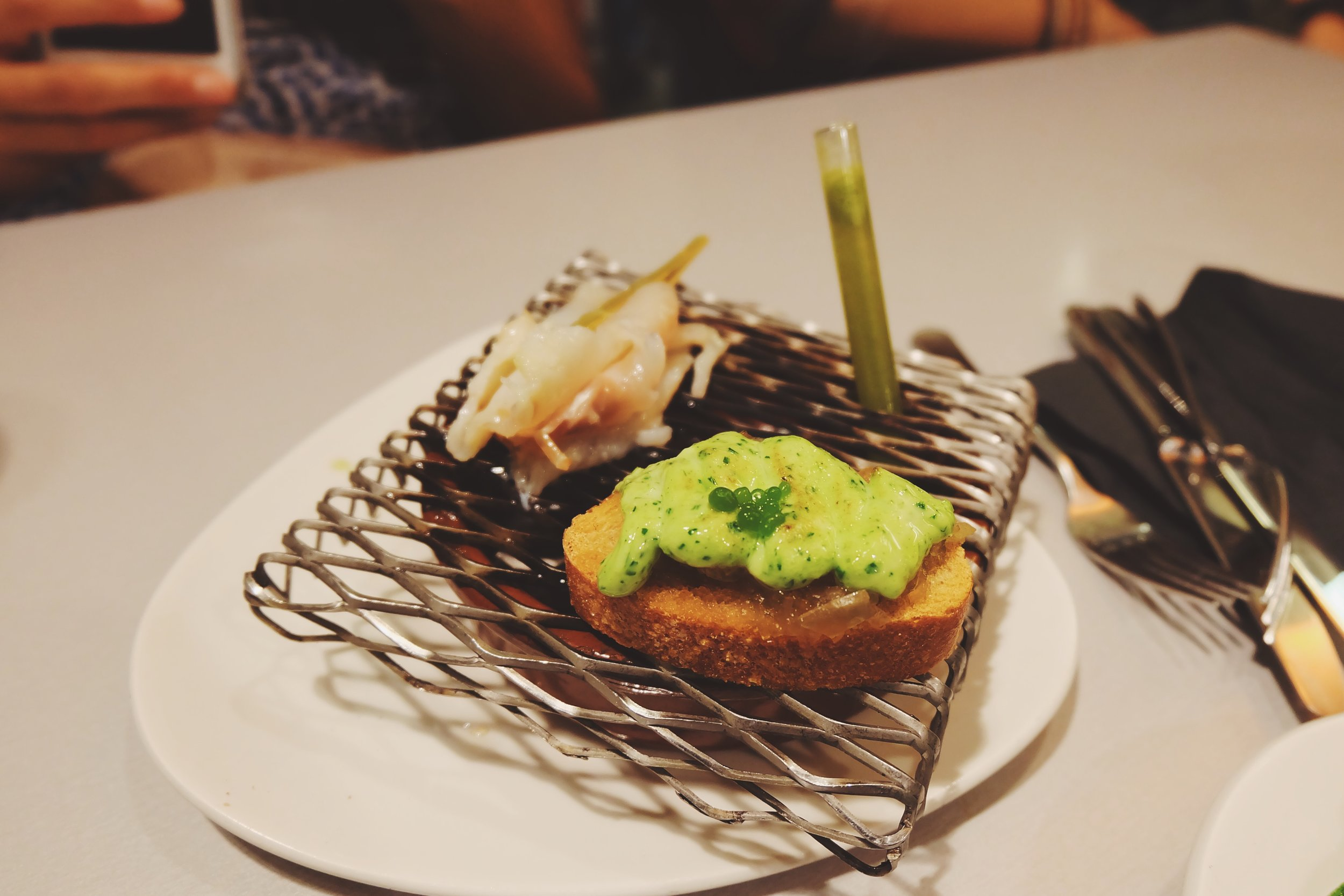 Grilled cod on toast with parsley mayonnaise (the cod is actually cooked on that)