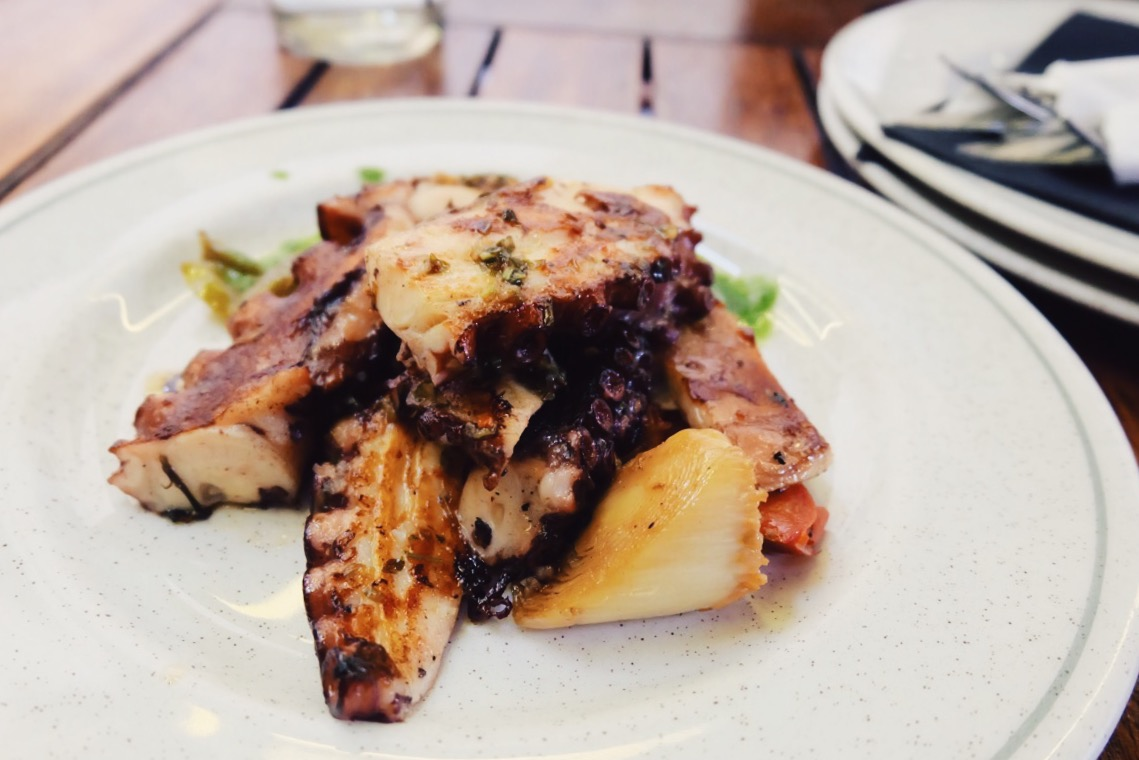 Grilled Octopus with vegetables and guijelo's bacon (best octopus I've ever had - cooked to absolute perfection).