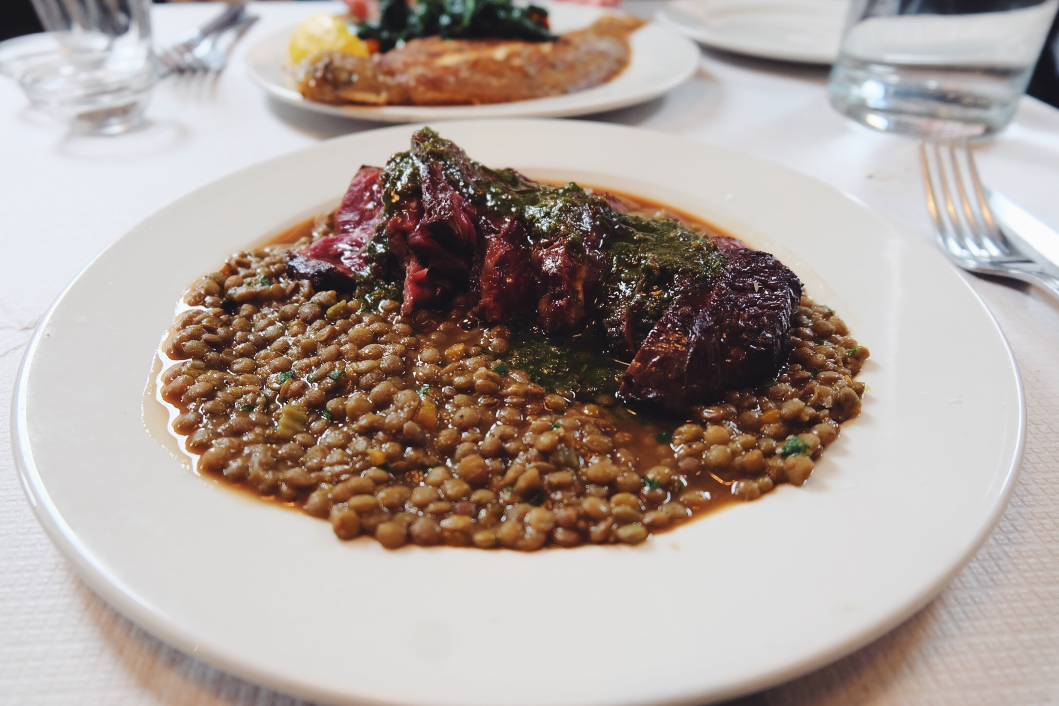 Dexter onglet with Castulleccio lentils, anchovy and rosemary dressing (£20)