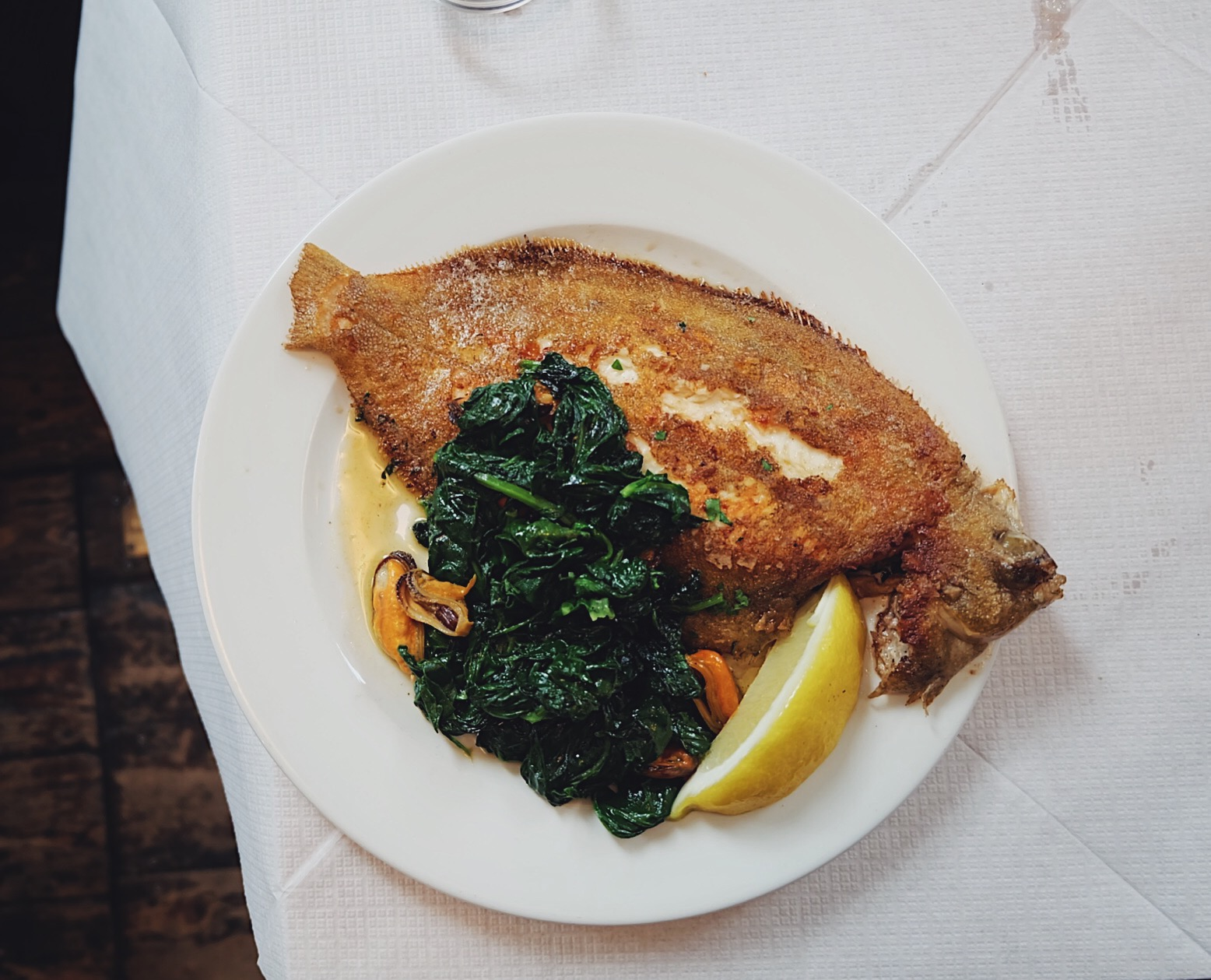 Lemon sole with wilted spinach and mussels (£22)