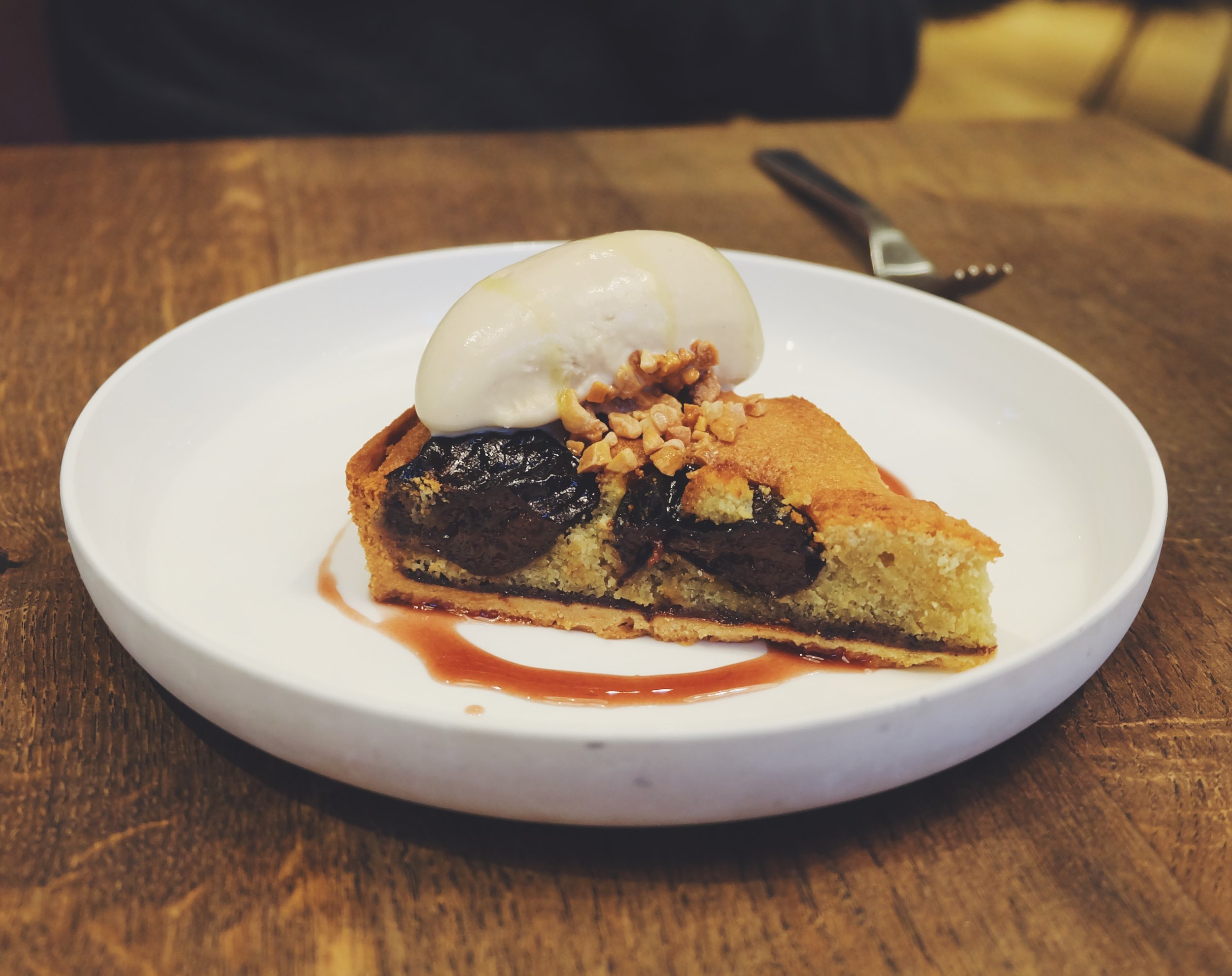 Prune and armagnac tart with bay leaf ice cream