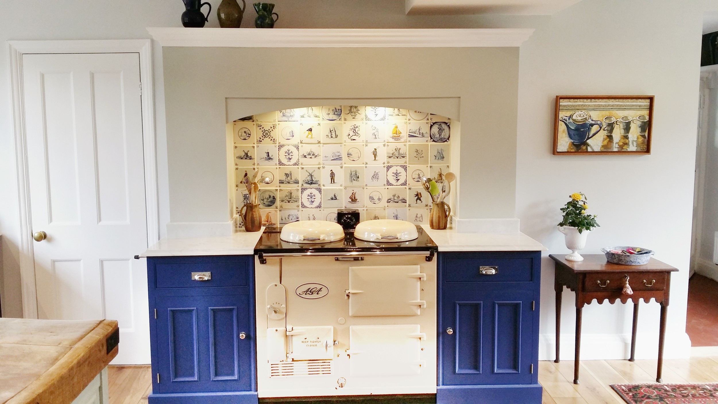 Beautiful handmade kitchen with Aga