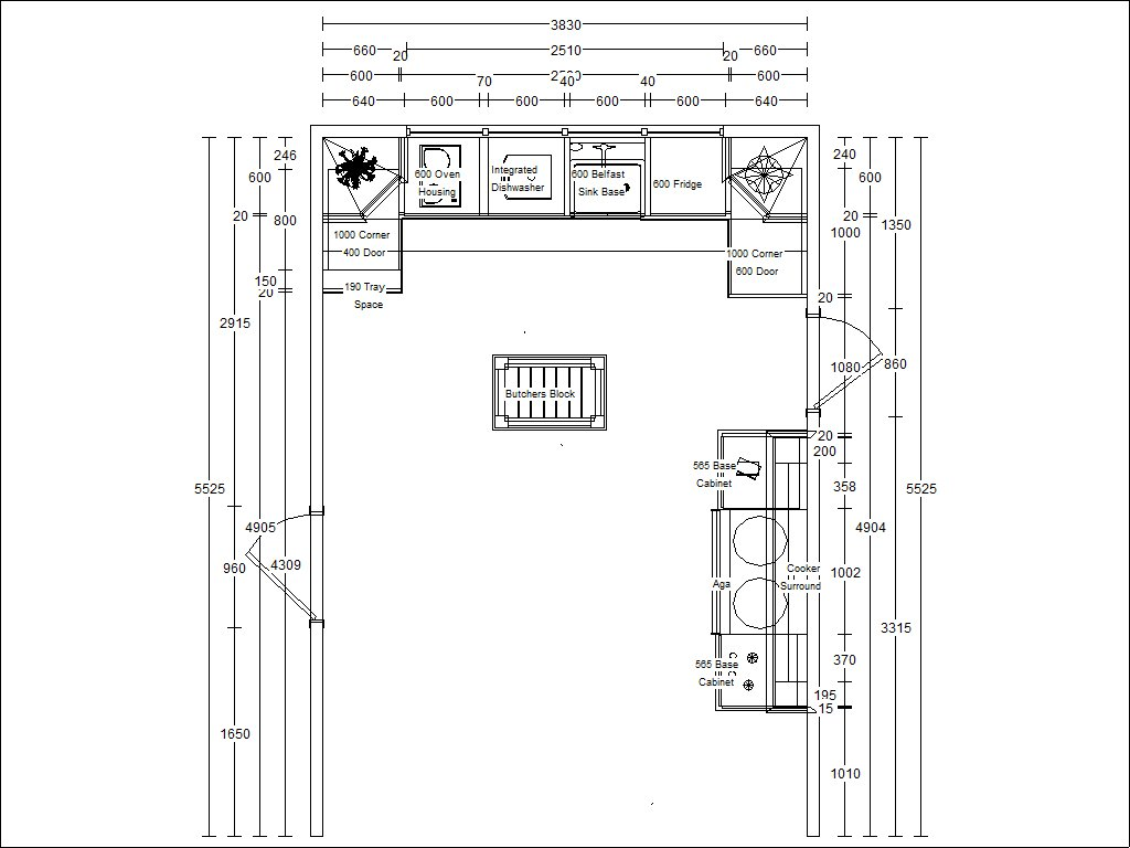 The Kitchen plan layout birds-eye view