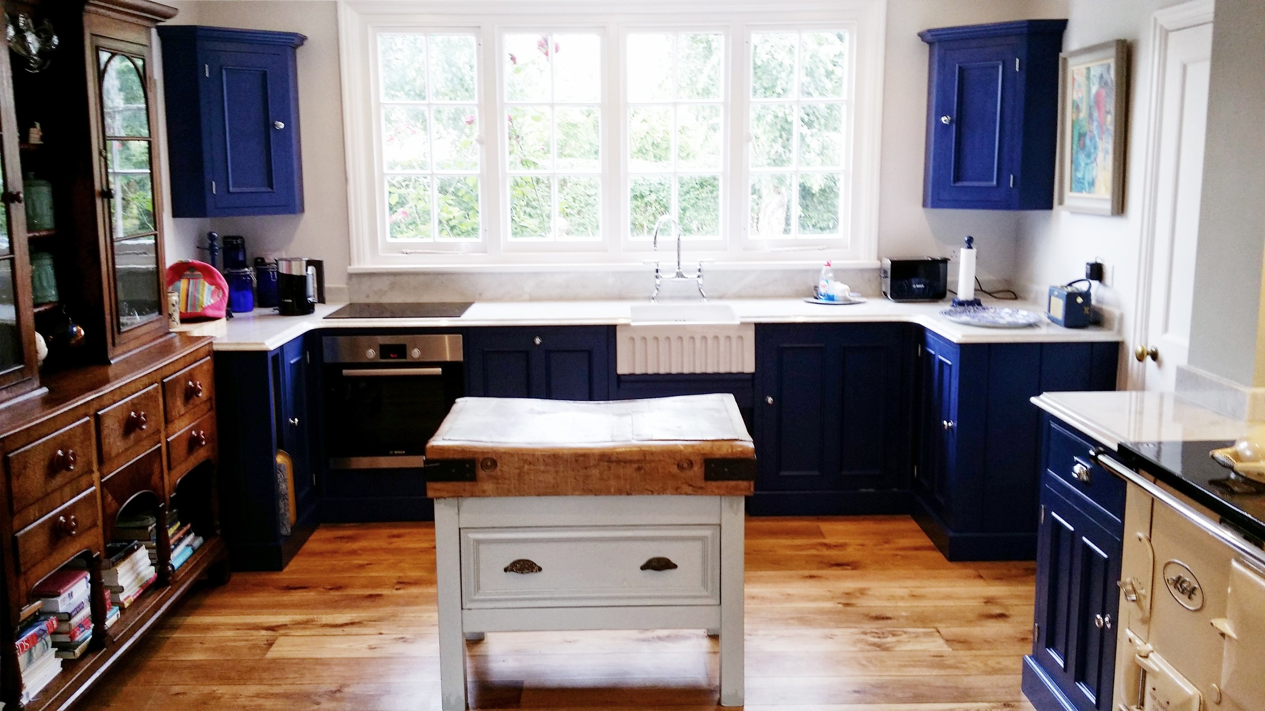 Drawing Room Blue kitchen with Belfast sink and butcher's block
