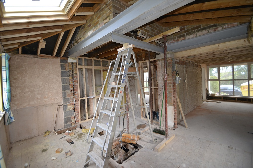 The building site before the new kitchen was installed