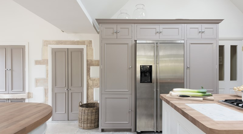 Neptune Chichester Range – Freestanding larder wall unite with increased storage, fridge freezer in an open plan kitchen diner area