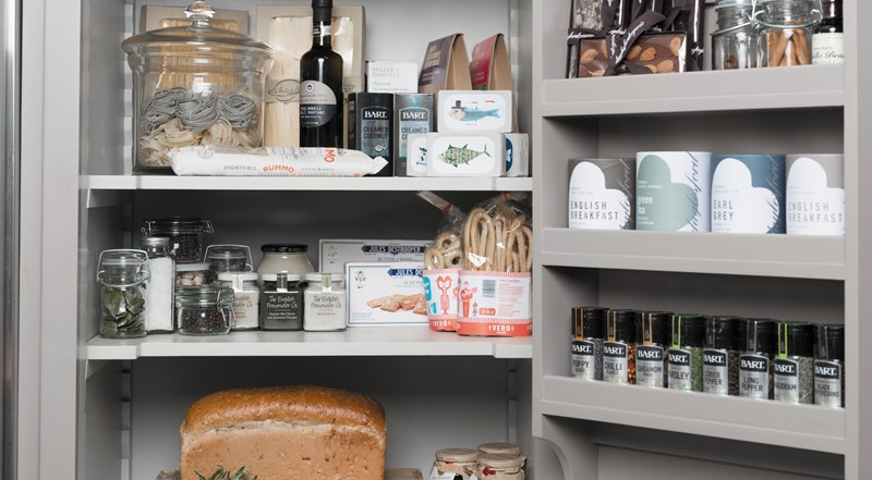 Neptune Chichester Range – View of classic beautiful open larder unit with condiments, spices and food storage, optimum storage