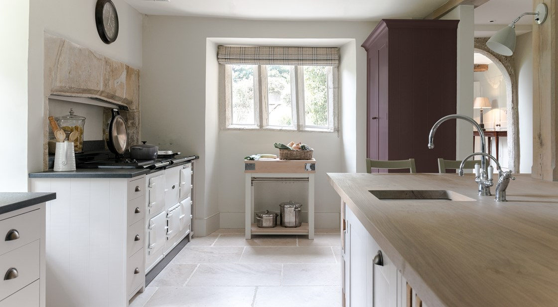 Neptune Suffolk Range – Kitchen renovated with Neptune units, Aga oven and butchers block with central island unit, solid oak wood surfaces and sink unit with taps