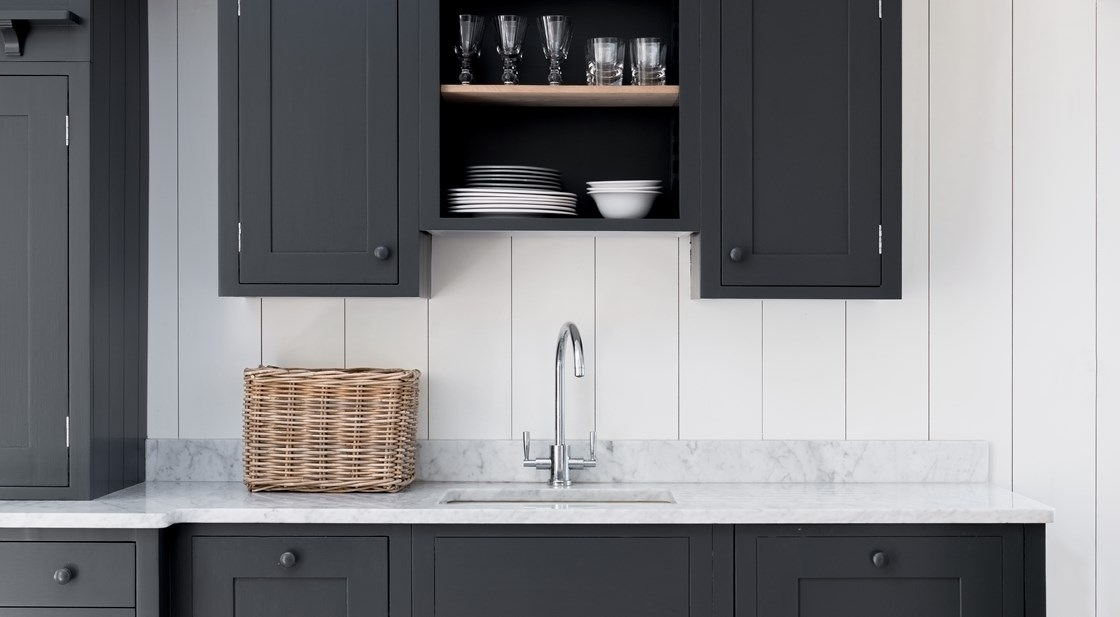 Neptune Suffolk Range – Kitchen wall unit with panelling, granite worktop and sink unit