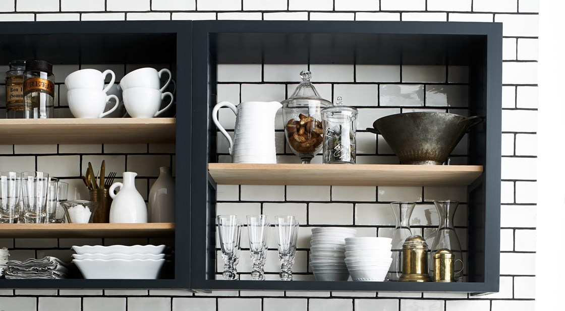 Neptune Suffolk Range – Wall shelves on kitchen with kitchen tiles, classic modern handcrafted kitchen style