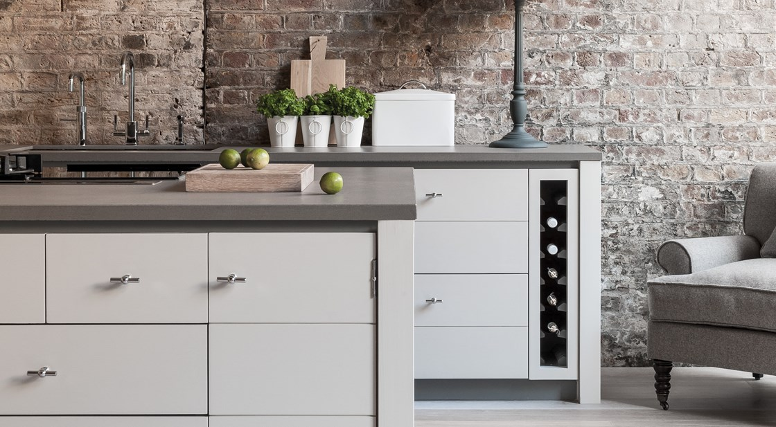 Neptune Limehouse Range – Stunning modern handmade kitchen with food prep area, beautiful units and wine rack