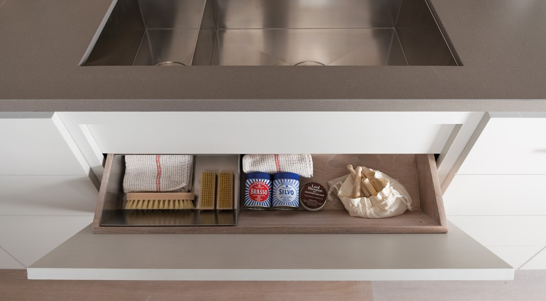 Neptune Limehouse Range – Handmade modern kitchen drawer cleaning storage brushes and cloths