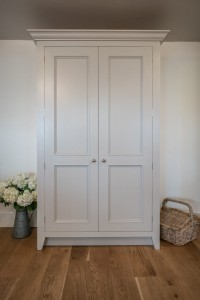 Stunning larder unit beautifully crafted with wooden shelves and convenient pull out drawers