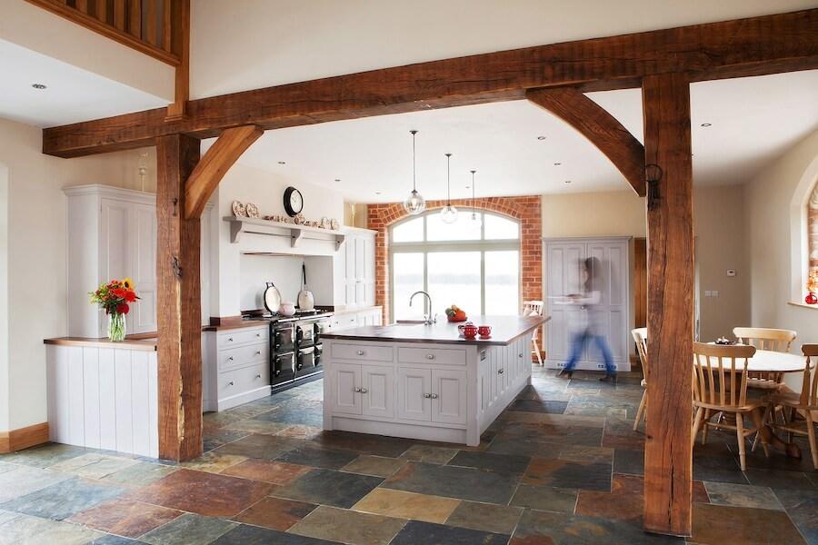 Caesarstone quartz worktop in a beautiful open plan kitchen