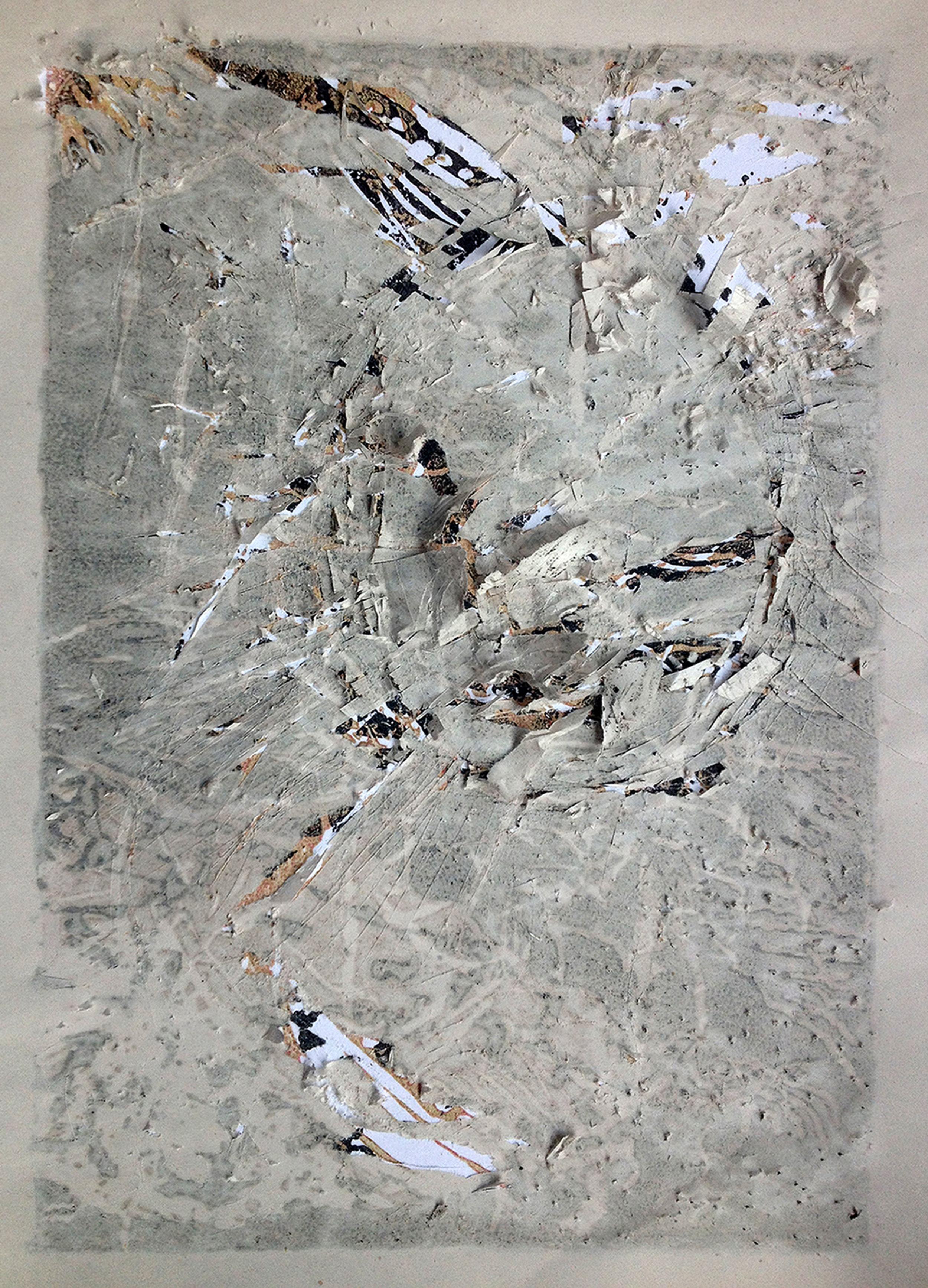 Disintegration Series, 'Disintegrate' (2015) linocut print with newsprint (A4)
