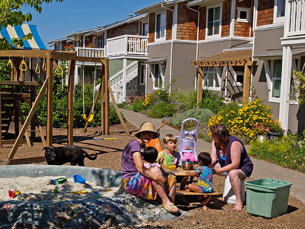 Frog Song Cohousing in Cotati, CA. Architecture by McCamant & Durrett Architects