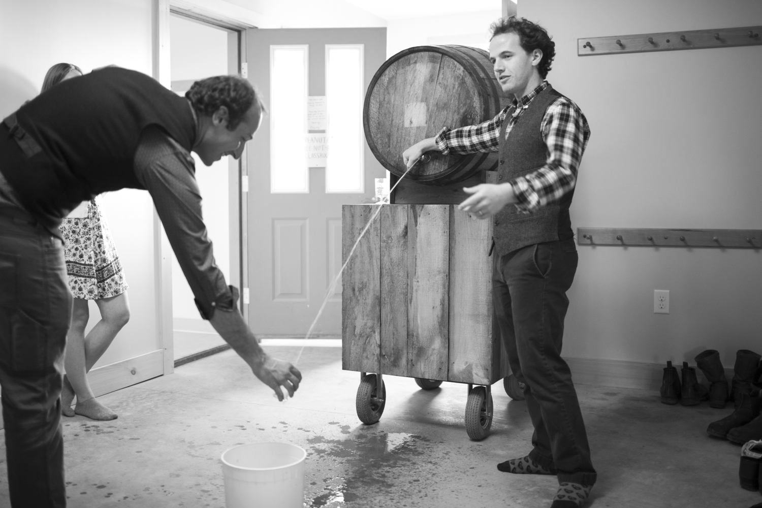 David Dolginow of Shacksbury Cider pours from the Basque barrel.