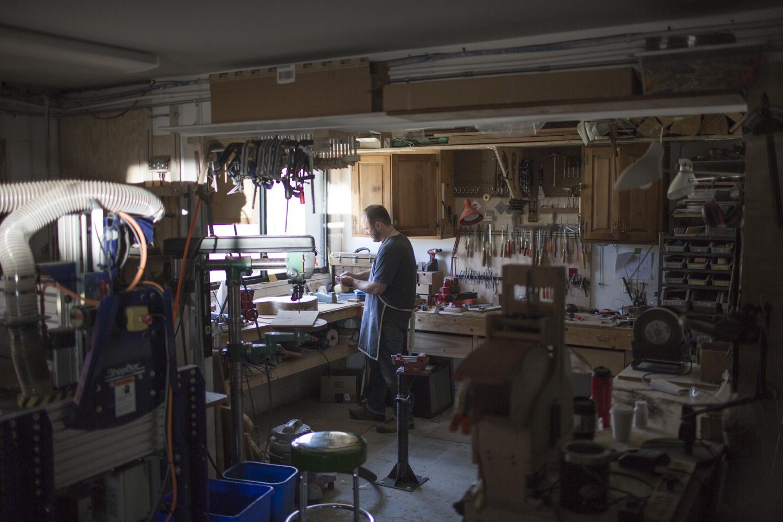 Adam Buchwald in his workshop.