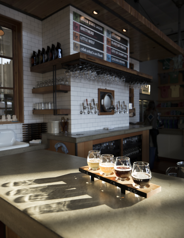 Sunlight on bar.