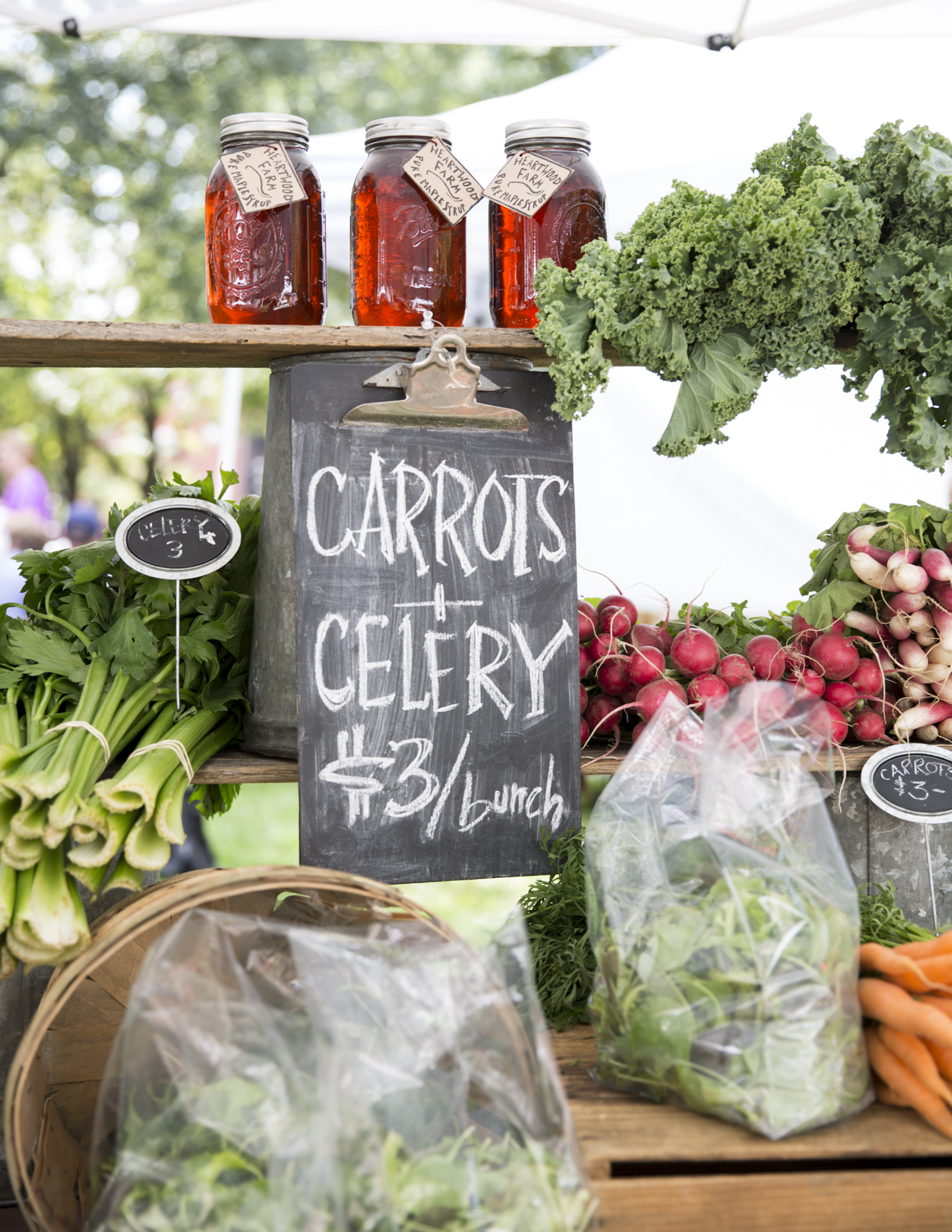 Heartwood Farm booth at Burlington Farmers' Market. Pic. by Dylan Griffin