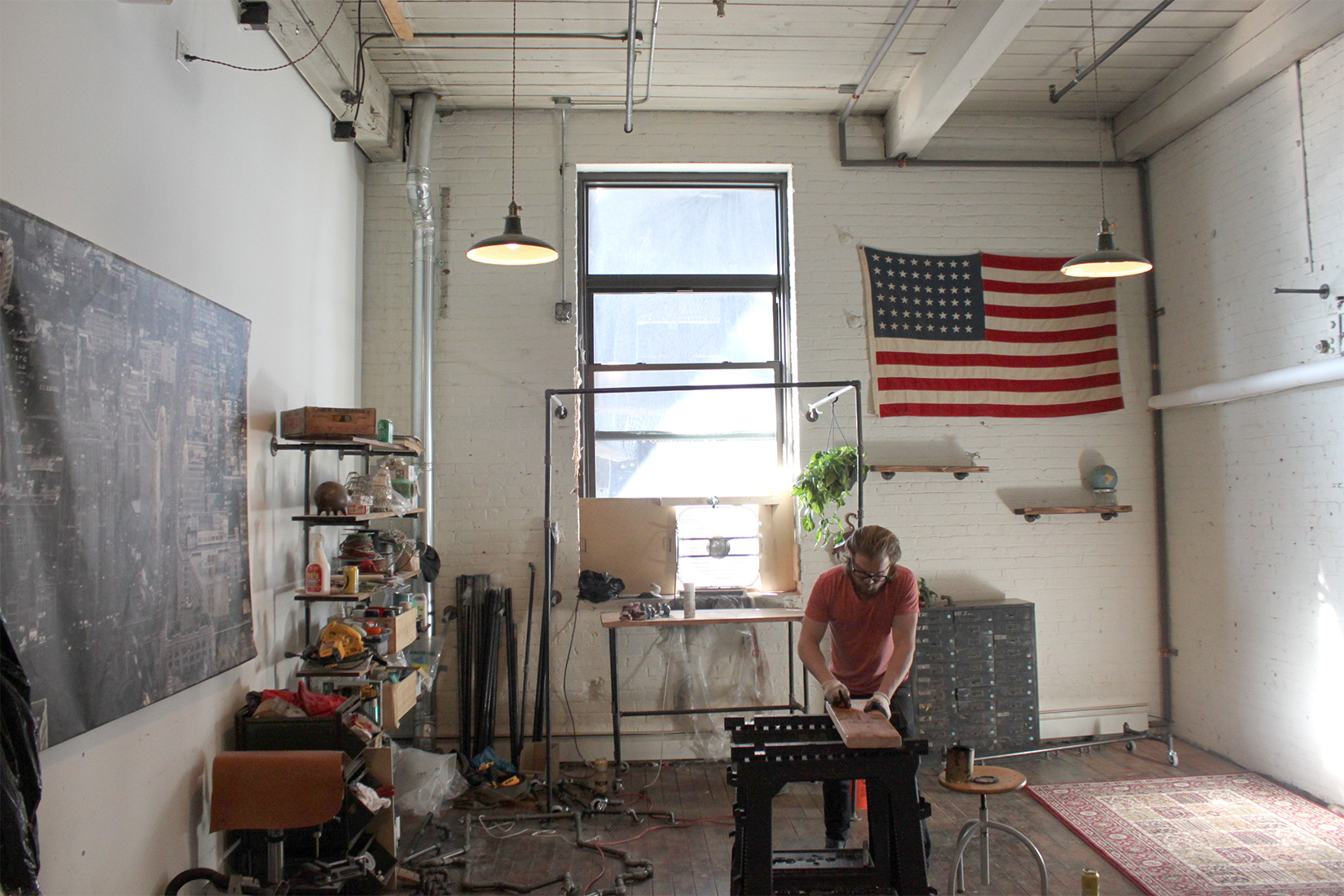 Patrick in his Brooklyn studio. Photograph by Pete Bowhan