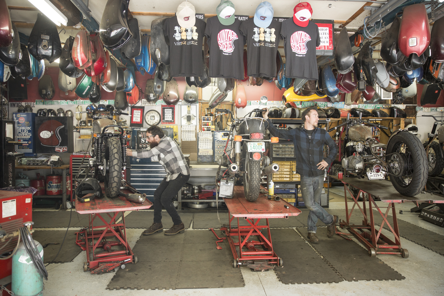 Josh and Chris at the Vintage Steele shop in Brattleboro, Vermont