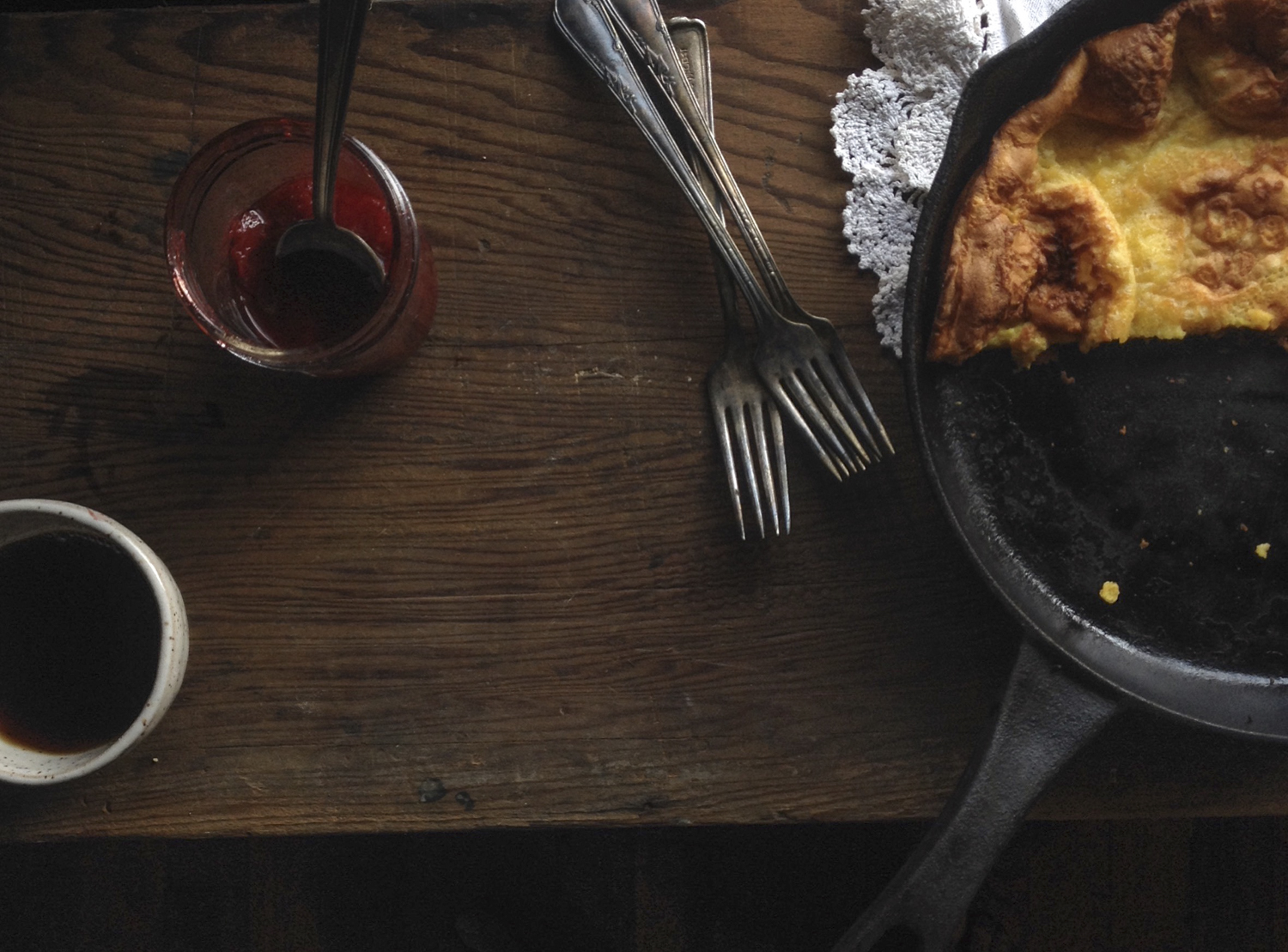 Apple and Oat Dutch Baby Pancake with Summer Preserves