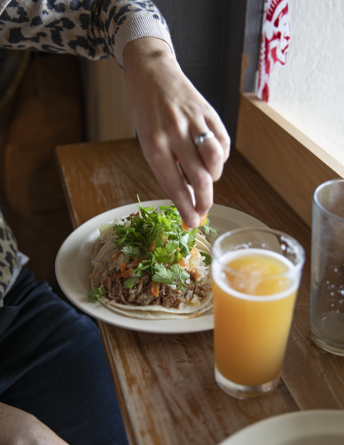 Pork tacos and Society and Solitude Beer, the Mad Taco