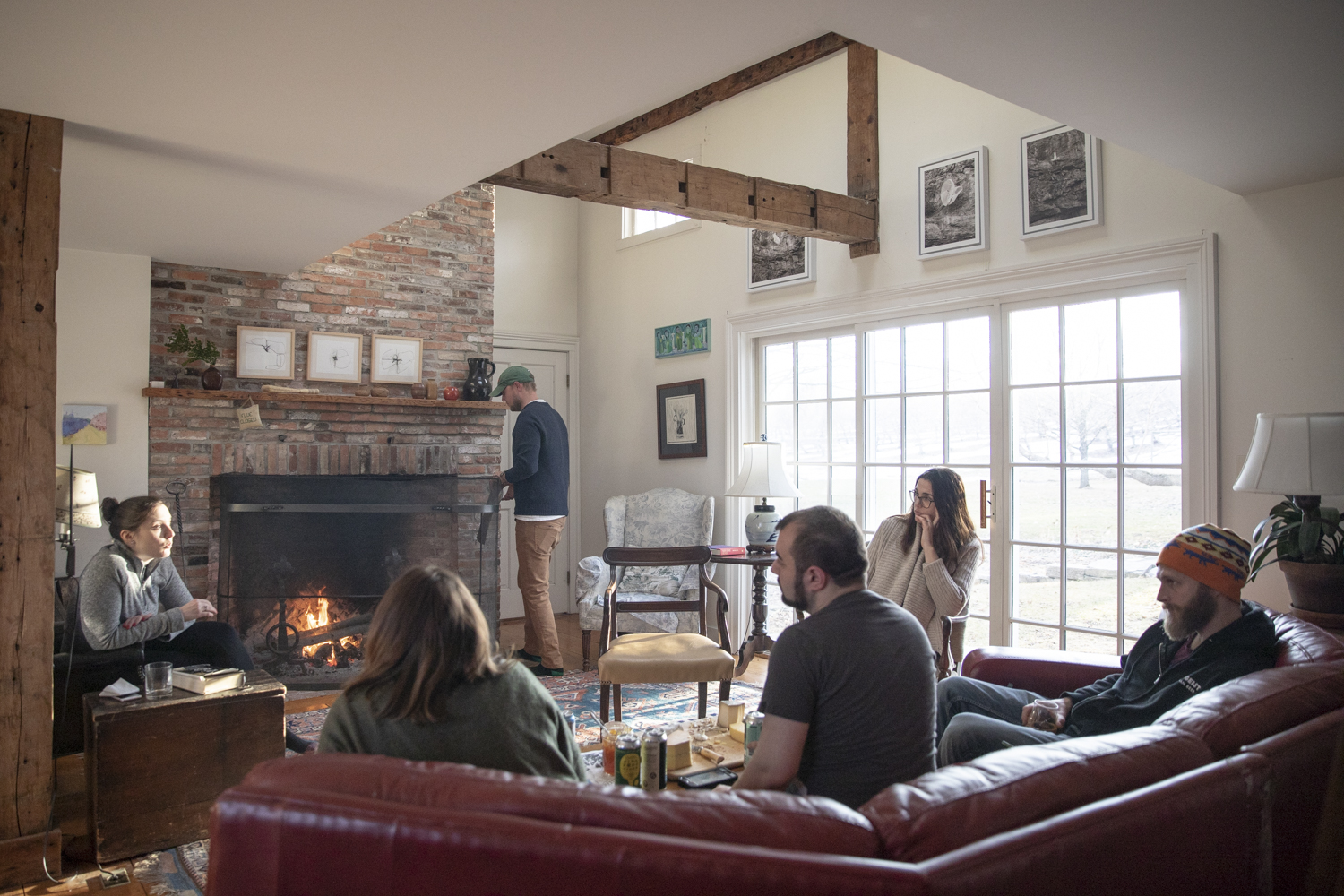 Fireside hang at Sunrise Orchards in Cornwall, VT