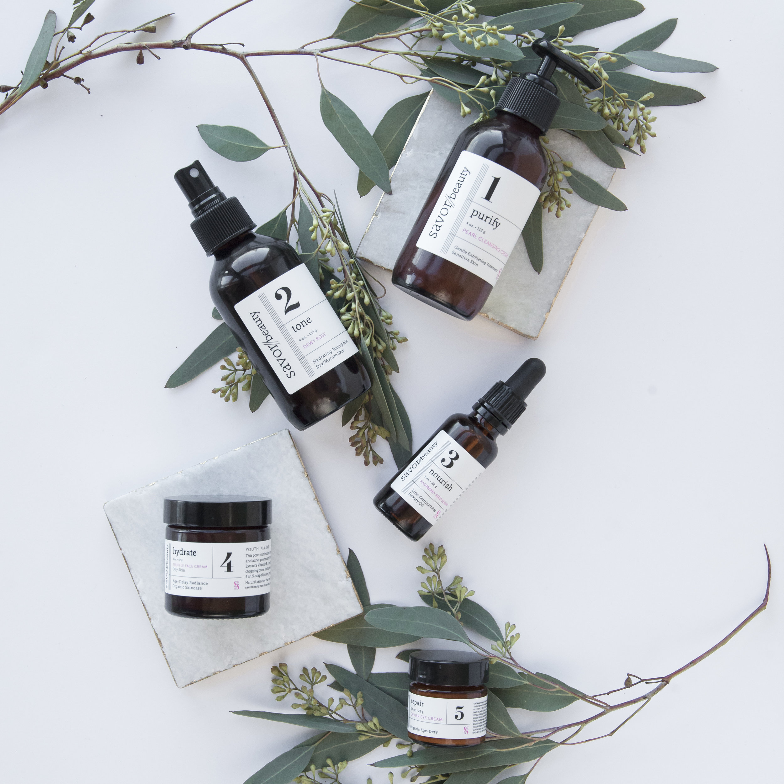 5-Step award-winning organic skincare system