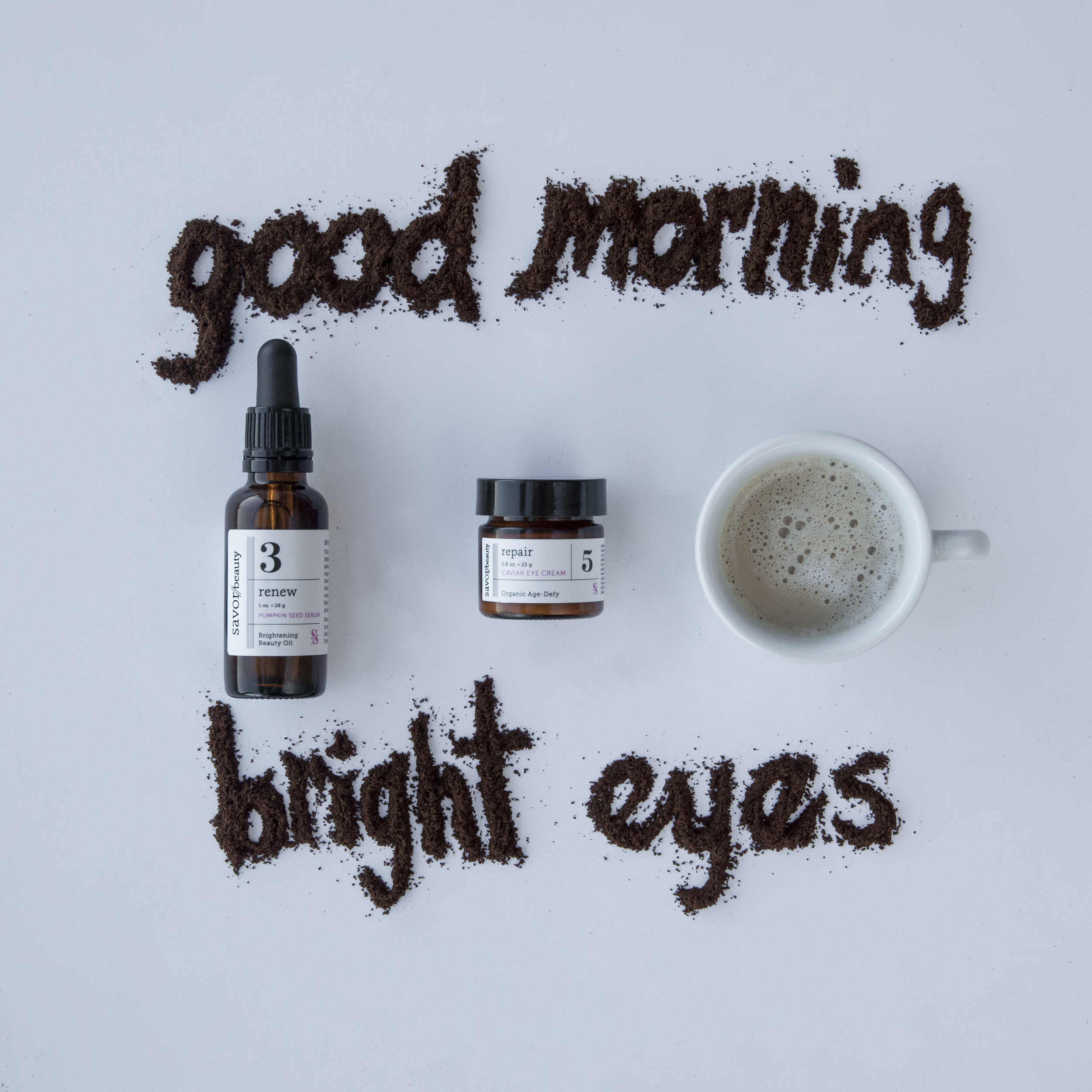 Savor Beauty  Good Morning Bright Eyes kit  to lift and repair eye zone area.