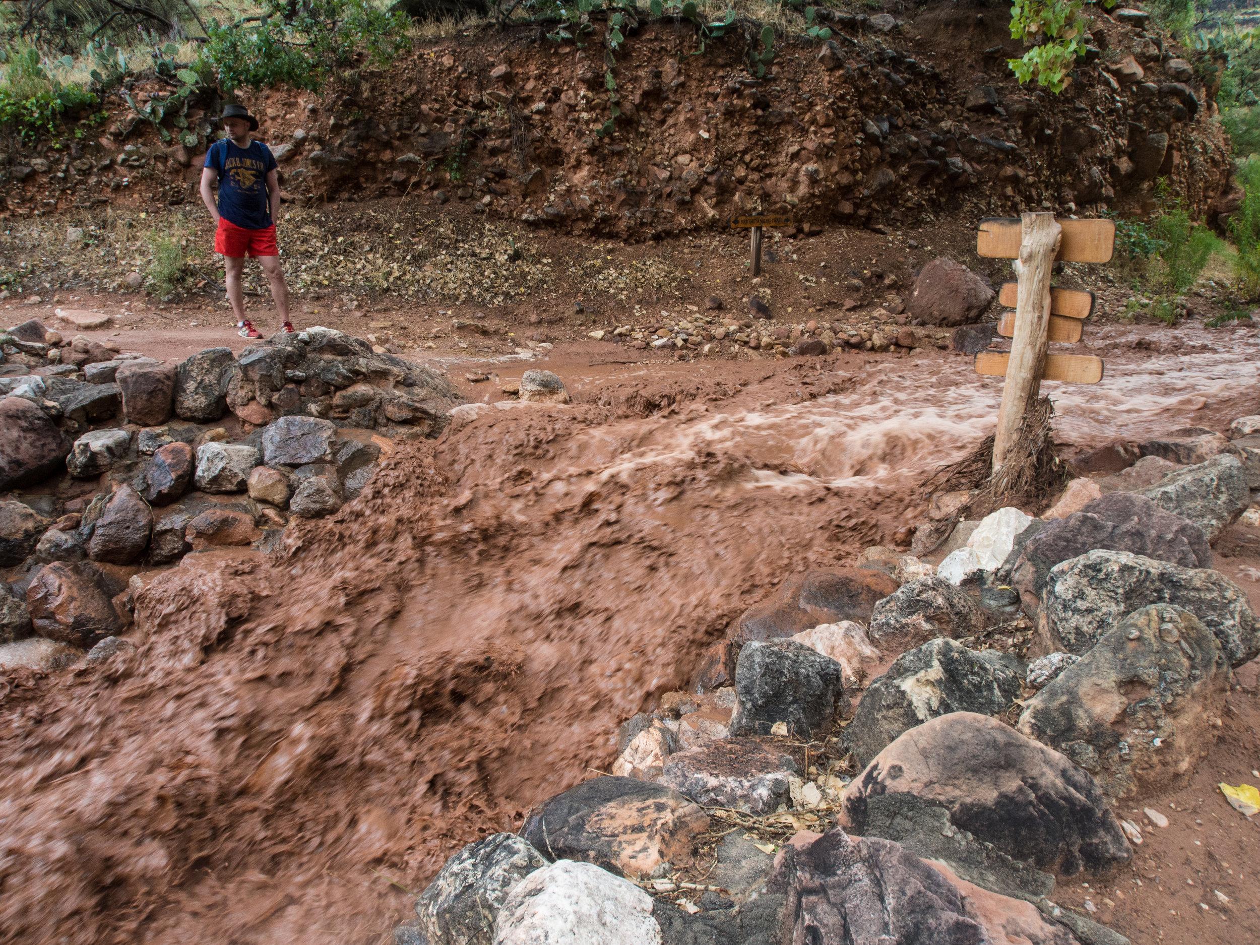 Flash flood passing through Indian Garden