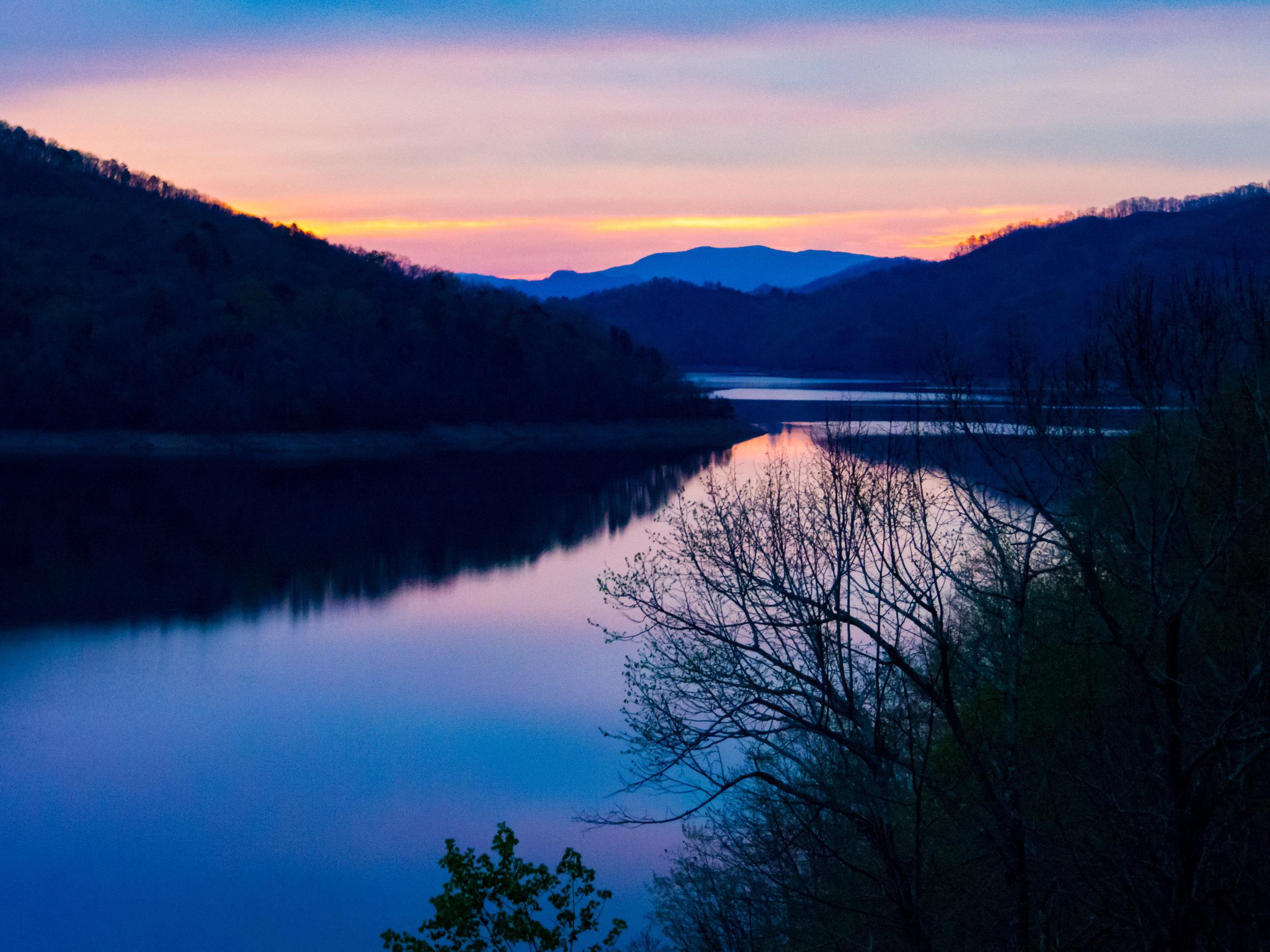 Sunset at Fontana Dam.