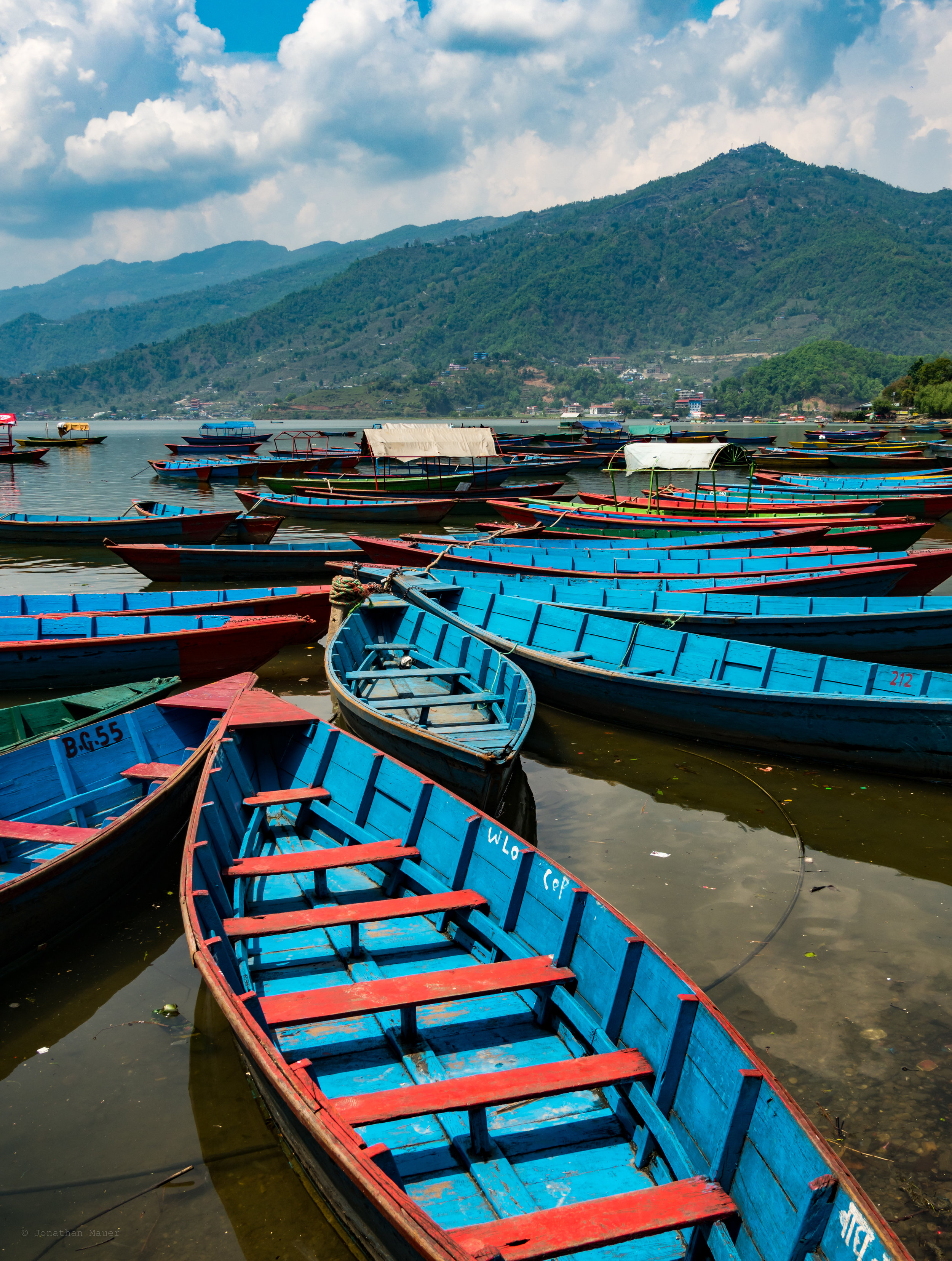 Row boats moored along the shore in Pokhara.