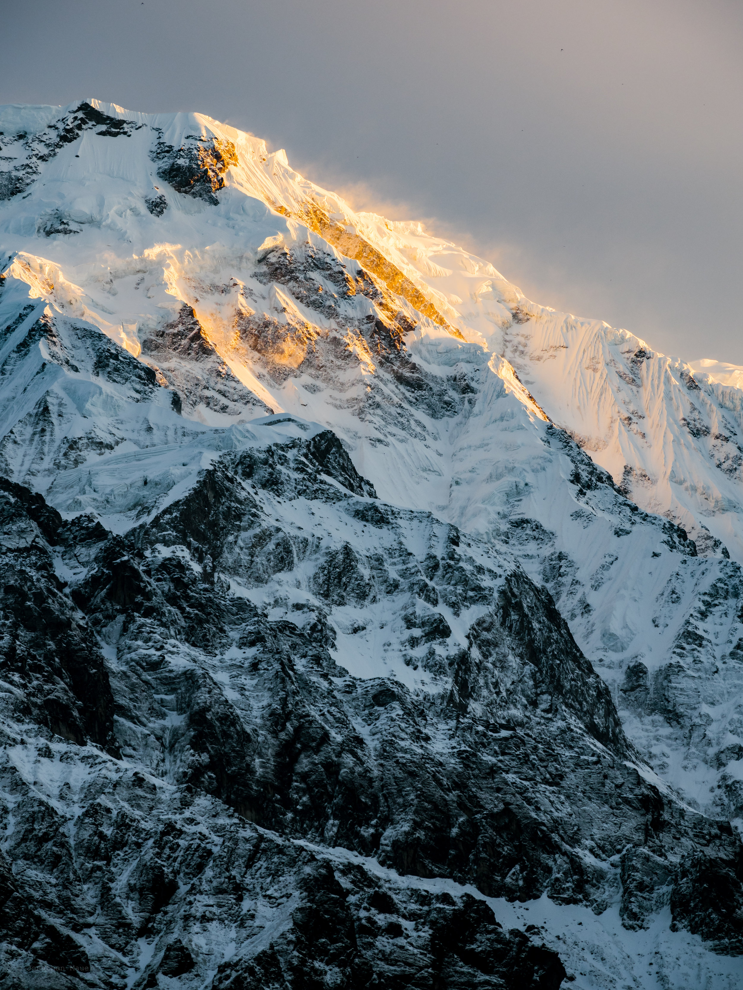 The summit of Annapurna South at sunrise.