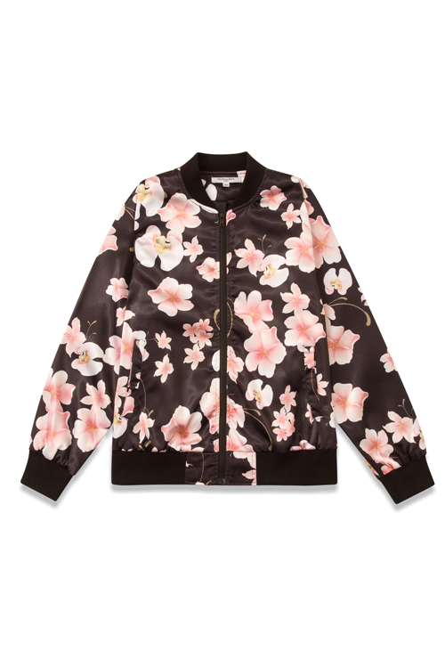 flat lay example black and pink floral jacket