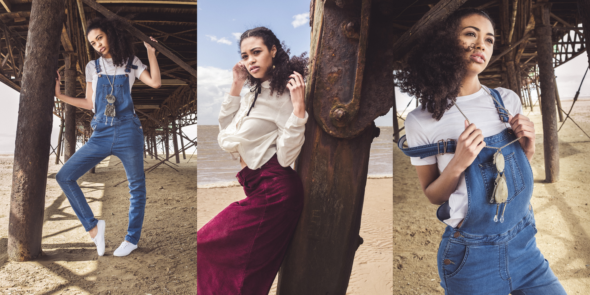 look book creative model shots by the pier