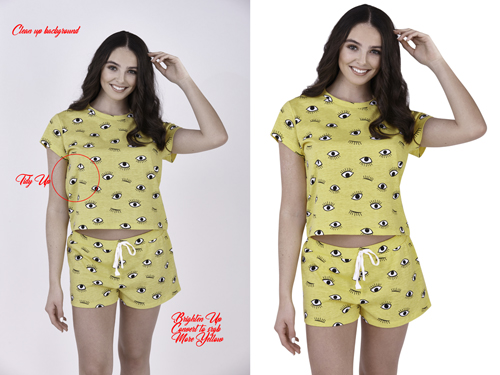 model ecommerce photography white cut out before and after