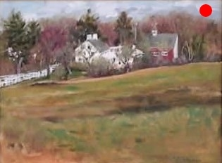 """Homestead - Jewell Towne, S.Hampton, NH, 9"""" x 12"""" Oil on canvas panel in 3.25""""W black frame"""