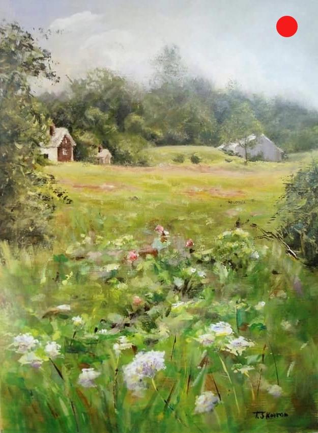 "Spring at Bakie Farm - E Kingston, NH, 9"" x 12"" Acrylic on panel"